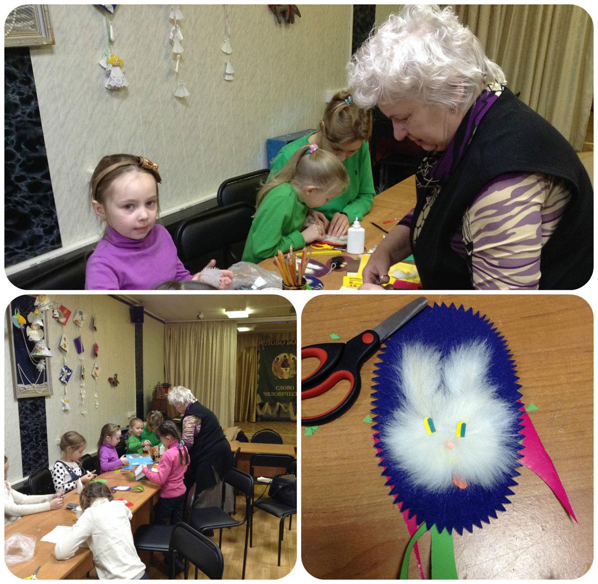 Пасхальные зайчики в детской Воскресной школе